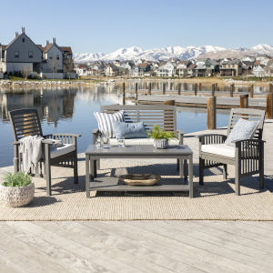 Gray Wash 24-Inch Four-Piece Classic Outdoor Chat Set