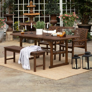 Dark Brown 35-Inch Four-Piece Extendable Outdoor Dining Set