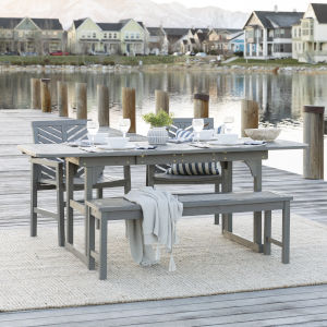 Gray Wash 35-Inch Four-Piece Extendable Outdoor Dining Set