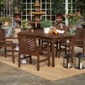 Dark Brown 32-Inch Five-Piece Chevron Outdoor Dining Set