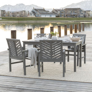 Gray Wash 32-Inch Five-Piece Chevron Outdoor Dining Set