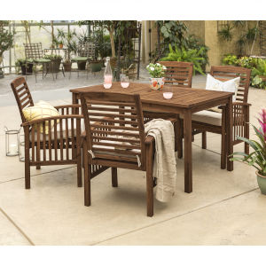 Dark Brown Patio Dining Set, 5 Piece