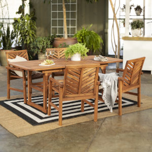 Brown 35-Inch Five-Piece Extendable Outdoor Dining Set