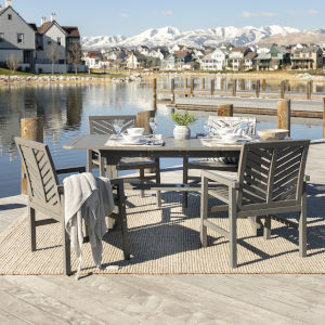 Gray Wash 35-Inch Five-Piece Extendable Outdoor Dining Set