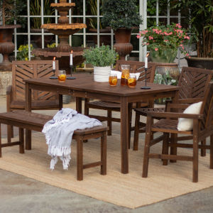 Dark Brown  32-Inch Six-Piece Chevron Outdoor Dining Set