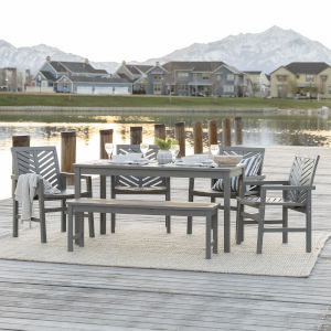 Gray Wash 32-Inch Six-Piece Chevron Outdoor Dining Set