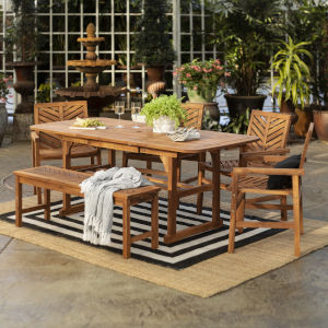 Brown 35-Inch Six-Piece Extendable Outdoor Dining Set