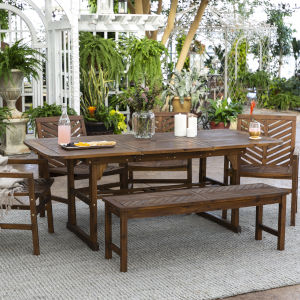 Dark Brown 35-Inch Six-Piece Extendable Outdoor Dining Set