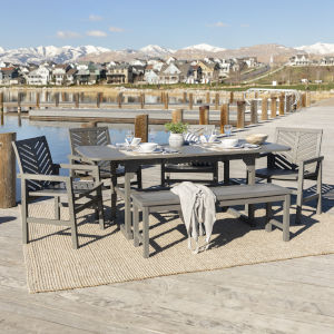 Gray Wash 35-Inch Six-Piece Extendable Outdoor Dining Set