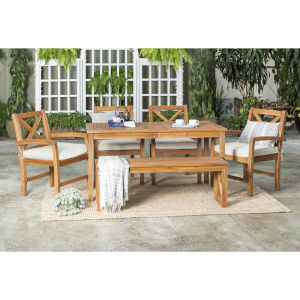 Brown Patio Dining Table Set , 6 Piece