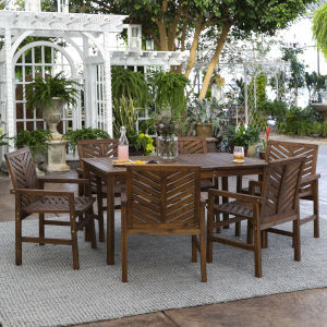 Dark Brown 32-Inch Seven-Piece Chevron Outdoor Dining Set