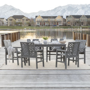Gray Wash 32-Inch Seven-Piece Chevron Outdoor Dining Set