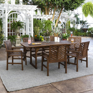Dark Brown 35-Inch Seven-Piece Extendable Outdoor Dining Set