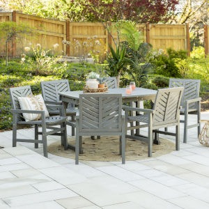 Gray Wash 35-Inch Seven-Piece Extendable Outdoor Dining Set