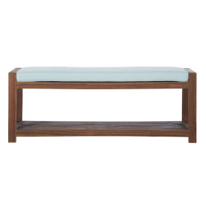 Dark Brown and Blue 48-Inch Patio Bench with Cushion