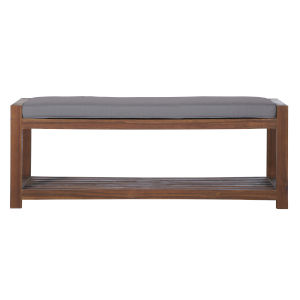 Dark Brown and Grey 48-Inch Patio Bench with Cushion