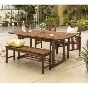 Dark Brown 35-Inch Four-Piece Outdoor Dining Table Set