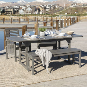 Gray Wash 35-Inch Four-Piece Classic Outdoor Dining Set