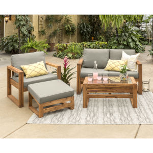 Brown 30-Inch Four-Piece Outdoor Chat Set