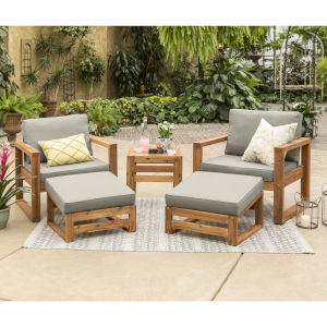 Brown 30-Inch Five-Piece Outdoor Chat Set