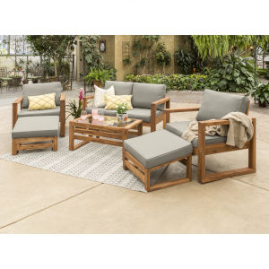 Brown 30-Inch Six-Piece Outdoor Chat Set