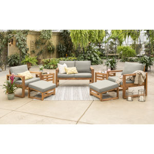 Brown 30-Inch Seven-Piece Outdoor Chat Set