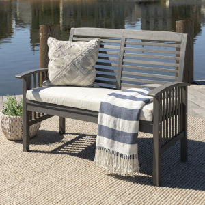 Gray Wash 24-Inch Outdoor Love Seat with Cushion