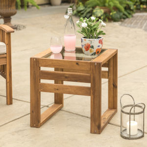 Brown Patio End Table