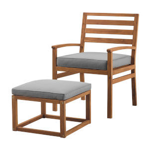 Brown and Gray 35-Inch Acacia Wood Outdoor Chair and Pull Out Ottoman