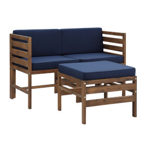Sanibel Dark Brown and Navy Blue Patio Love Seat with Ottoman