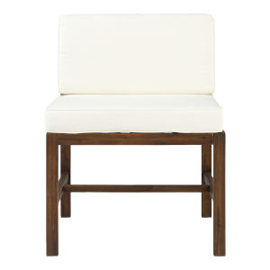 Sanibel Dark Brown and White Outdoor Armless Chair