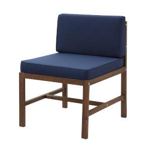 Sanibel Dark Brown and Navy Blue Patio Side Chair