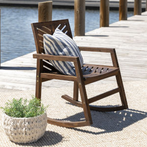 Dark Brown 35-Inch Outdoor Chevron Rocking Chair