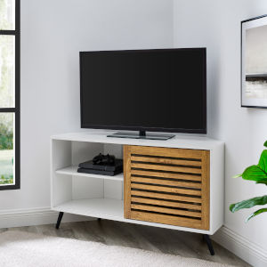 Bowie Barnwood and Solid White TV Stand