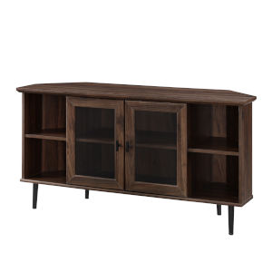 Dark Walnut 48-Inch Simple Glass Door Corner TV Console