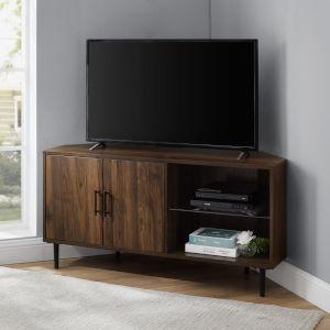 Nora Dark Walnut and Black TV Stand with Glass Shelf