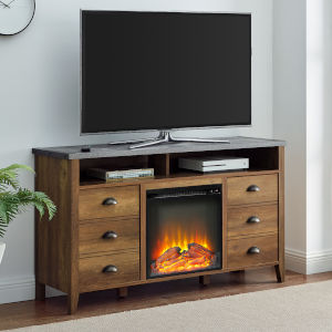 Clair Reclaimed Barnwood and Dark Concrete Fireplace TV Stand