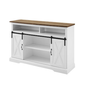 Solid White and Barnwood TV Stand