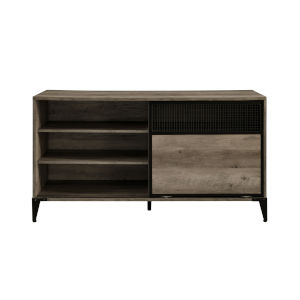 Roselyn Gray and Black Sliding Door TV Stand