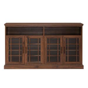 Dark Walnut 58-Inch Classic Glass Door TV Console