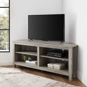 Gray Wash 58-Inch Corner TV Stand
