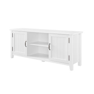 Solid White Grooved Two Door TV Stand