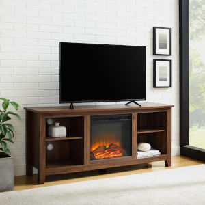 Essential Dark Walnut Fireplace TV Stand