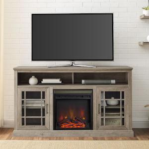 Hazel Gray Fireplace TV Stand