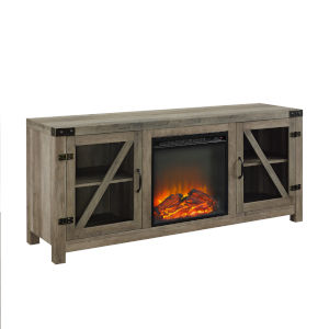 Gray and Black Fireplace Console