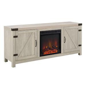 Barn Door Stone Grey Fireplace TV Console