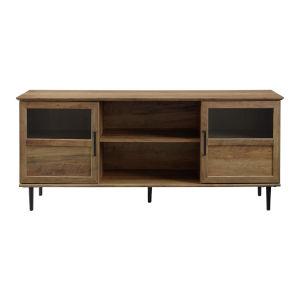 Reclaimed Barnwood 58-Inch Glass and Wood Split Panel Door TV Console