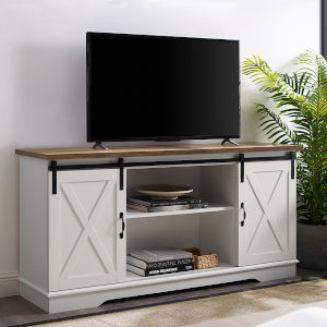 White and Rustic Oak TV Stand