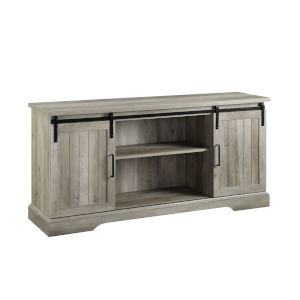 Gray and Black Sliding Grooved Door TV Console