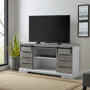 Gray Wash 58-Inch Sliding Slat Door TV Console